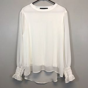 Zara | Flowy Long Sleeve White Top